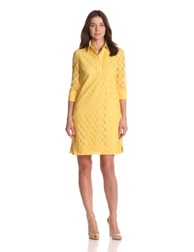 Adrianna Papell Women's 3/4 Sleeve Lace Shirt Dress, Yellow, 14