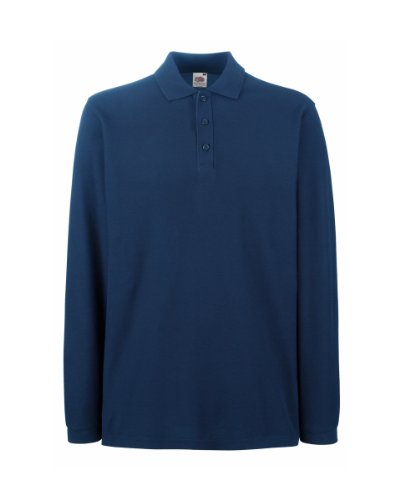 Fruit Of The Loom - Polo Manica Lunga - Uomo (XXL) (Blu navy)