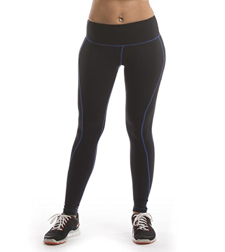 Corrono Speed Pace Yoga Running Workout Leggings Pants (Xl, Blue Line)