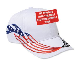 HE WHO DIES WITH THE MOST STUFFED ANIMALS WINS White USA Flag / Checker Racing Hat / Baseball Cap