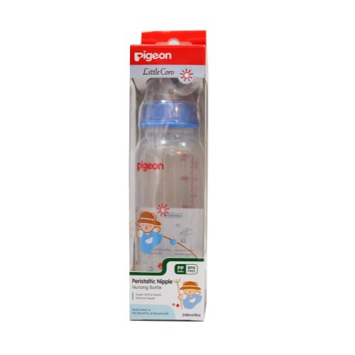 New Pigeon Baby Feeding Bottle Coro Boy and Girl with Peristaltic Nipple 8 oz / 240 ml (Blue)