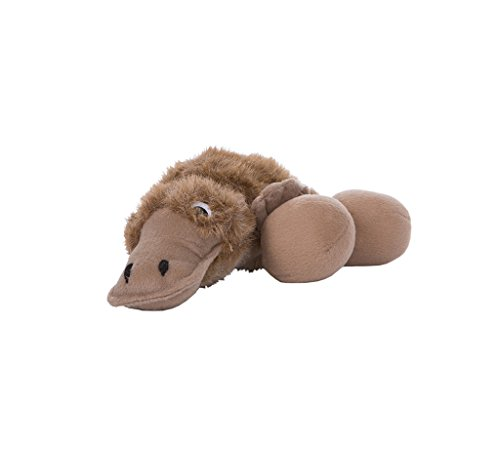 Outward Hound Kyjen  31008 Egg Babies Platypus Plush Dog Toys Squeak Toy Dog Puzzle, Large, Brown - 1