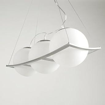 Deckenlampe Deckenleuchte Pendelleuchte 3-er Hängeleuchte Milchglas Opalglas Kugel Leuchte Modern Weiß von Design61