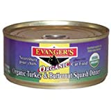 Evanger's 100-Percent Organic Turkey with Butternut Squash Dinner for Cats, Case of 24