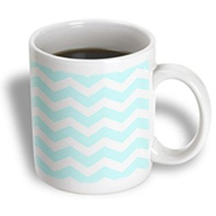 Mug_179677_1 Inspirationzstore Chevron Patterns - Mint Blue And White Zig Zag Chevron Pattern Pastel Turquoise Teal Aqua - Mugs - 11Oz Mug