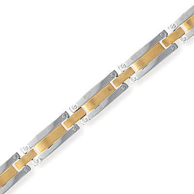 Stainless Steel and 14 Karat Gold Plated Men's Bracelet