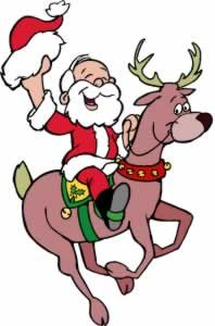 Christmas Wall Decals - Cowboy Santa Claus on Reindeer - 12 inch Removable Graphics (4 same)