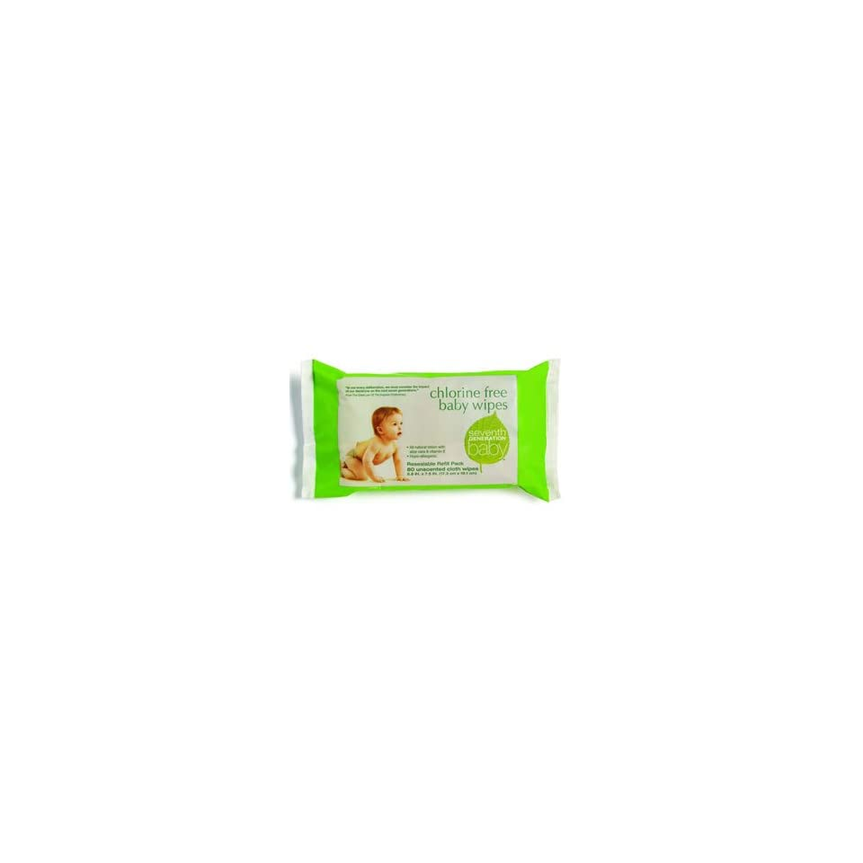 Seventh Generation Travel Refill 80 count Baby Wipes Non Chlorine Bleached Unscented Cloth Wipes (Pack of 3)