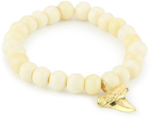 M.Cohen Hand made Designs White Yak Bone with Gold-Plated Sterling Silver Pendant Necklace