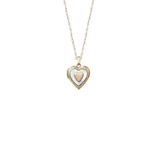 Children's 14k Gold-Filled Embossed Mother-Of-Pearl and Heart Applique Heart Locket Necklace, 15