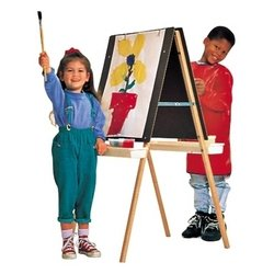 Quartet Double-Sided Masonite Easel, 45 to 51 Inch Adjustable Height, Includes 4 Easel Clips and 2 Trays, Oak Frame (XEH007)
