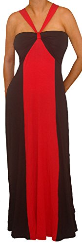 Tc1 Funfash New Red Black Color Block Halter Long Maxi Plus Size Dress 1X Xl 16