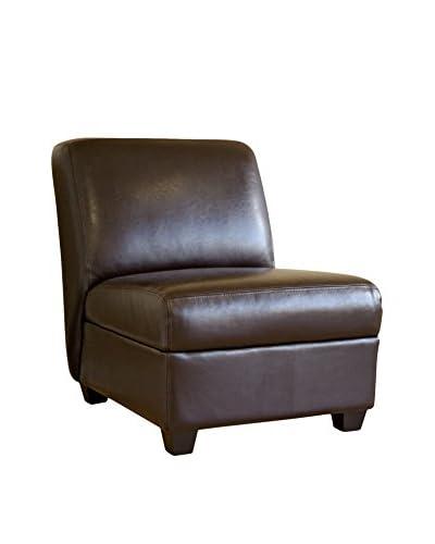 Baxton Studio Armless Espresso Club Chair, Dark Brown