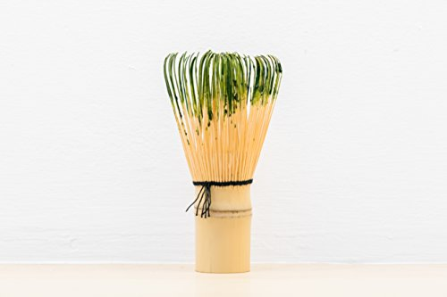 Matcha Green Tea Whisk (Chasen) with FREE Bamboo Scoop (Chasaku), 100 Prongs are Made by Hand, Used for Mixing Ceremonial Matcha Green Tea