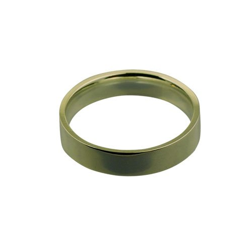 9ct Gold 5mm plain Flat Court shaped Wedding Ring Sizes Q to Z