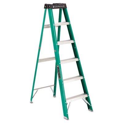 #592 Six-Foot Folding Fiberglass Step Ladder, Green/Black by LOUISVILLE (Catalog Category: Office Maintenance, Janitorial & Lunchroom / Ladders / Fiberglass)
