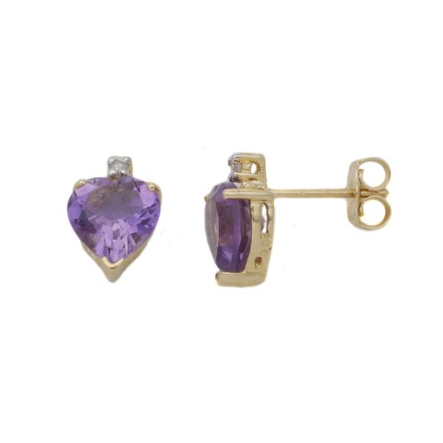 0.01 Carat Diamond with Amethyst Earrings in 9ct Yellow Gold
