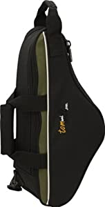 Tomandwill 33CSX Curved Soprano Saxophone Gig Bag - Black with Olive Trim with Grey and Black Piping