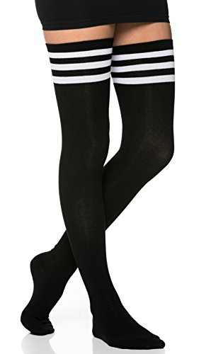 Collegiate Striped Thigh High Socks in Black