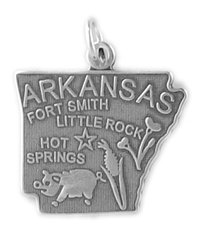 Sterling Silver Arkansas Charm