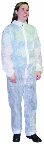 Ammex Corporation CO35L Ammex  Disposable Coverall, Large, White