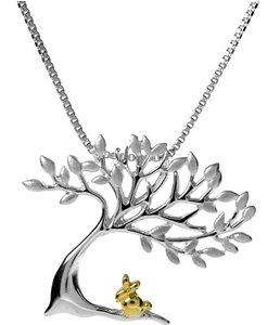 Catenina in argento sterling 925 con pendente a forma di Albero della vita con coniglio in oro giallo