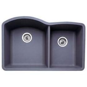 Blanco 440178 Blancodiamond 1-3/4 Bowl Kitchen Sink, Metallic Gray