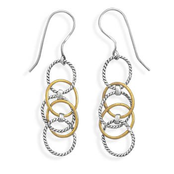 Sterling Silver Two Tone Multiring Drop Earrings