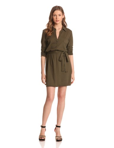 Michael Stars Women's Jersey Knit Long Sleeve Shirt Dress, Vintage, One Size