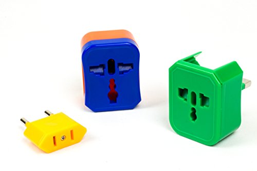 NOMAS Universal Travel Adapter with 4 Plugs - For Worldwide use in 150 Countries Europe, The UK, The US & Australia - Ideal for International Travelers and Digital Nomads