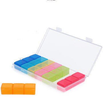 The Portable Plastic Colorful 21 Grid Seven Days Medicated-Box front-417394