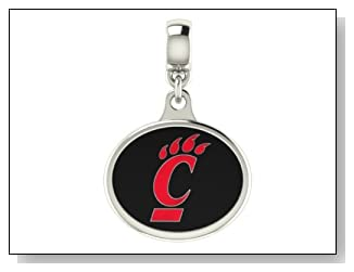 Cincinnati Bearcats Collegiate Drop Charm Fits Most Pandora Style Bracelets Including Pandora Chamilia Zable Troll and More. High Quality Bead in Stock for Fast Shipping.