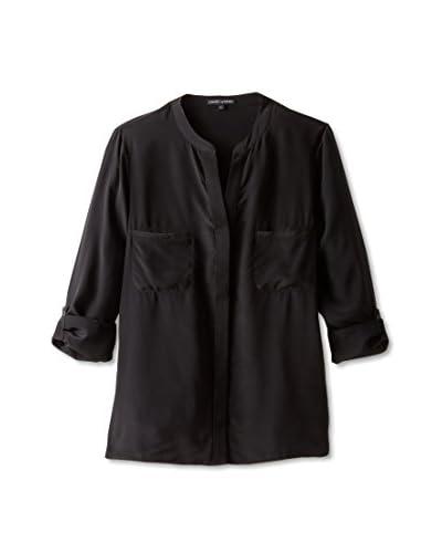 David Lerner Women's Silk Mandarin Collar Blouse