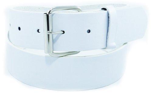 JTC Belt Genuine Faux Plain Leather Belt Detachable Buckle (Large, White)