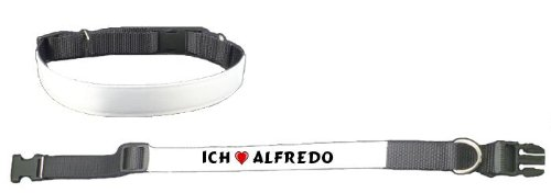 Personalisiertes Hundehalsband mit Aufschrift Ich liebe Alfredo (Vorname/Zuname/Spitzname)