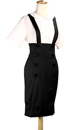 pencil skirt high waisted suspender skirt black