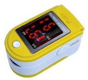 Finger Pulse Oximeter - %SpO2 (Blood Oxygen Saturation) & Heart Rate Monitor with Instructions, Lanyard & Carry Case (in RETAIL PACKAGING) - YELLOW