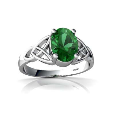 Created Emerald 14ct White Gold Celtic Trinity Ring