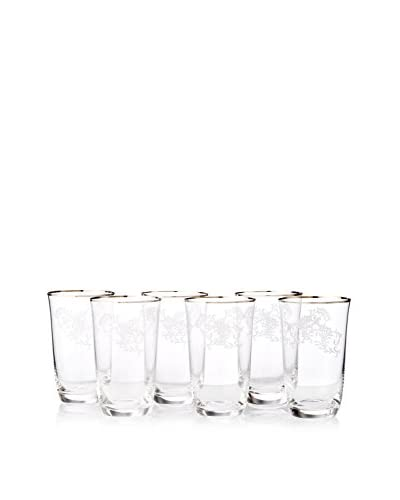A Casa K Ricci Set of 6 Engraved Crystal & Platinum 10-Oz. Highball Glasses