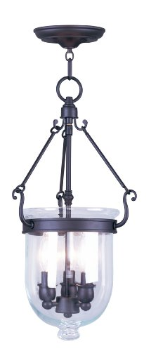Livex Lighting 5063-07 Jefferson 3 Light Bronze Bell Jar Chain Hung with Clear Glass