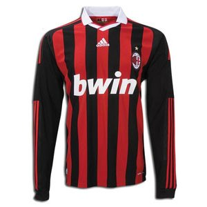 Amazon.com : adidas AC Milan Long Sleeve Home Jersey 09/10