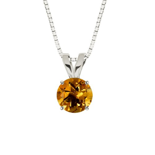 "10k White Gold Round Citrine Gemstone Pendant Necklace (8mm 1.75 ct), 18"""