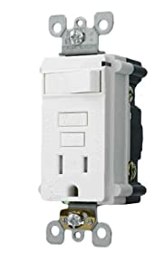Leviton T7299-W 15Amp 125-Volt Tamper Resistant Smart Lock Pro Combination GFCI, Single Outlet with a Switch, White