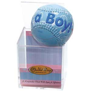 """IT'S A BOY"" Baseball -BIRTH ANNOUNCEMENT/Keepsake/GIFT/BLUE - INCLUDES DISPLAY BOX/Shower/CHRISTENING/NEW BABY GIFT"