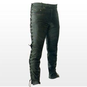Pantalon en cuir - lacets sur les côtés - taille XL