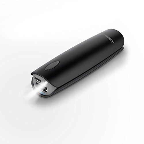 TeckNet PowerPulseスマート充電 3350mAh超軽量モバイルバッテリー ライト付き ブラック