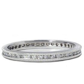 Pompeii3 Inc. .50CT Diamond Vintage Eternity Channel Set Wedding Ring Filigree Antique 14k WG