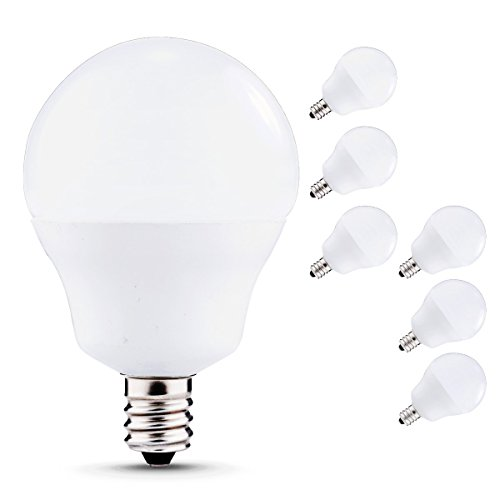 J&C LED Globe Light Bulbs Candelabra Base, 5W (40W Incandescent Equivalent), 450lm, Natural Daylight White (4000K), LED Bulbs for Ceiling Fan, Decorative G14 Bulbs, E12 Base (6-PACK) (Candelabra Daylight Bulb compare prices)