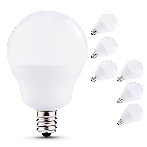 J&C LED Globe Light Bulbs Candelabra Base, 5W (40W Incandescent Equivalent), 450lm, Natural Daylight White (4000K), LED Bulbs for Ceiling Fan, Decorative G14 Bulbs, E12 Base (6-PACK) (Light Globe For Ceiling Fan compare prices)
