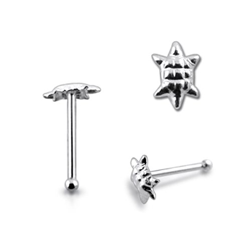 Piercingworld Plain Tiny Turtle 22Gx1/4 (0.6x6mm) 925 Sterling Silver Ball End Nose Pin Piercing Jewelry